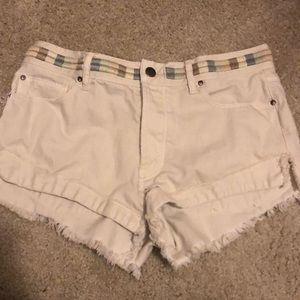 Free People White Belt Jean Shorts